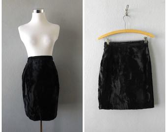 black fur mini skirt | vintage 90s grunge gothic furry dress size s/small club kid cyber punk goth blouse tops minimal 1990s festival rave