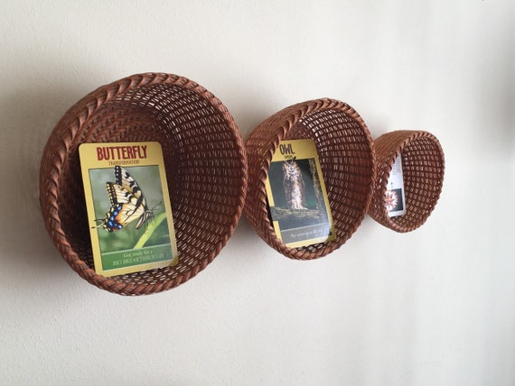 Three Vintage Hand Woven Round Baskets -  Bohemiam, Farmhouse, Natural, Eclectic