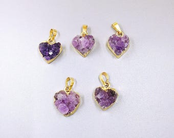 Beautiful Cute Amethyst Necklace, Gold Heart Amethyst Druzy Pendant, Amethyst Crystal Cluster Pendant with Gold Electroplated Bails FS06