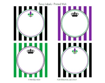PRINTABLE Mardi Gras Collection Fancy Labels - Printed Wish