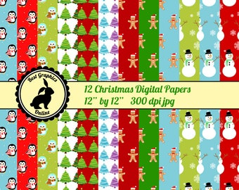 80% OFF SALE Christmas papers Scrapbooking papers Xmas Christmas printable paper Christmas digital paper pack Christmas background pack RG4