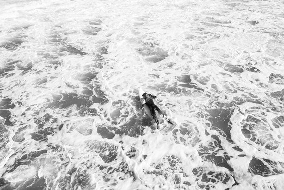 BUBBLE SURFING. Surf Picture, Black and White Print, Surfing Print, Photographic Print.