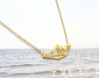 BOAT ORIGAMI NECKLACE, boat pendant, origami boat, boat Necklace, Geometric Pendant, sail boat necklace, gold boat, personalised necklace