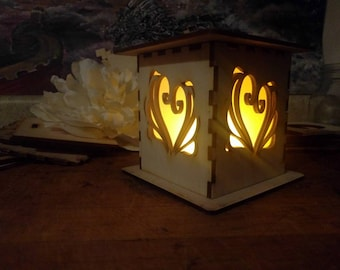 Heart Lamp with LED tea light - Valentines Day Sale