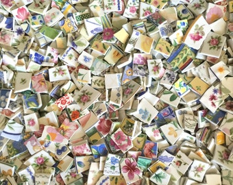 Two Pounds FLOWERS, PETALS & STEMS Blend Assortment Mix Tiles for Mosaic -  Broken China