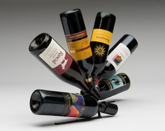 Wine Bottle Display Rack - Sculptural Tabletop Wine Bottle Holder