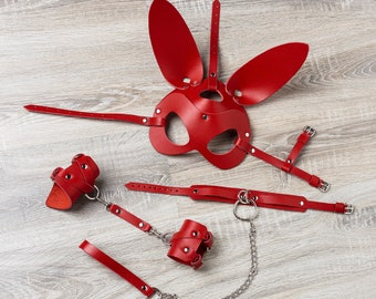 Set of red leather bdsm accessories - Leather Bunny Mask, leather handcuffs, choker