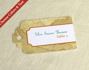 Mexico Map Place Card Tag - Mexican Wedding Escort Card - Luggage Tag Destination Travel Wedding Name Card - Custom Colors