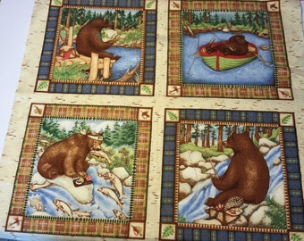 Catch Of The Day Collection By AvLynn Bear Wildlife Fabric