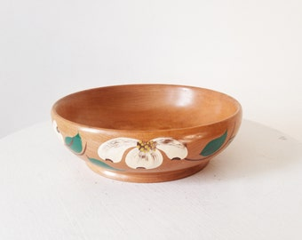 Vintage 1950s Hand-Painted Mid-Century Floral Wooden Bowl - Catch all