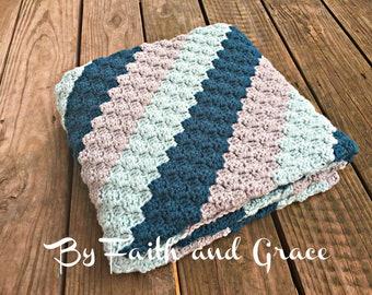 Baby Afghan - Toddler Afghan  - Baby Shower Gift -  Antique Teal - Glacier - Light Gray - Baby Blanket -  Crochet Blanket