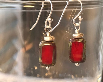 Crimson Red Czech Glass Earrings with Sterling Silver Accents