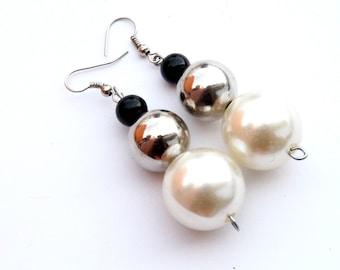 Black silver white dangle earrings Long silver white earrings Elegant white pearls earrings Elegant earrings Unique earrings Gift for her