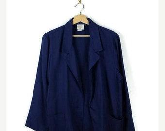 ON SALE Vintage Plain Navy Slouchy Light Blazer /Jacket from 1980's/Minimal/oversized*