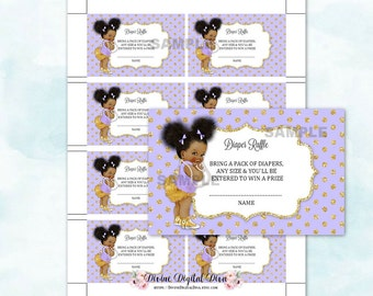 Diaper Raffle Tickets | African American Baby Girl with Afro Puffs Ponytails Gold & Lavender | Digital Instant Download