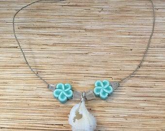 Aqua Plumeria Shell Necklace