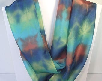 "Hand Dyed Silk Infinity Scarf - 11 x 76"", Turquoise, Yellow, Terracotta, Roayl Blue-Long Infinity Loop"