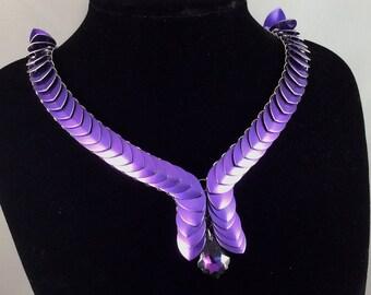 Purple scale mail necklace - unusual, unique statement necklace