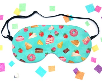 Cake and Sweets Sleep Mask, Foodie Gift, Sweet Treats, Donuts, Cake, Strawberry, Kawaii Travel Mask