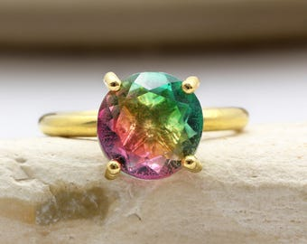 SUMMER SALE - Tourmaline ring,cocktail ring,gold ring,solid gold ring,gemstone ring,watermelon tourmaline ring,prong ring