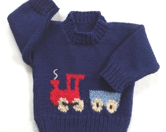 Toddler boy sweater - 12 to 24 months - Kids knit train sweater  - Toddler train pullover - Childrens clothing - Knit train motif