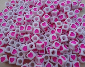 500pcs 7mm heart square beads, pink heart bead with 3mm diameter hole--plastic heart bead--acrylic heart bead--BW28