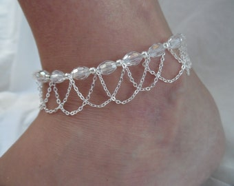 Beaded Crystal Anklet with Silver Chain