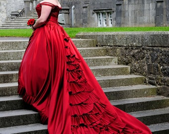 Red Wedding Dress with Pleated Train