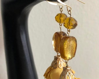 Rose and Glass Beads Earrings