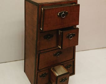 Oriental furniture, Chinese drawer with removable drawers, 1/12 miniature for dollhouses