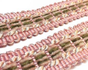 Pale Pink Gimp Trim -  Pink with Brown Flat Braid -  Light  Pink Gimp - Pillow Tote Sewing Trim - Blush Pink Trim - 1 Yard