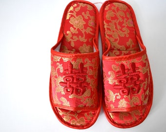 Red and Gold Double Happiness Wedding Slippers - SIZE S + M
