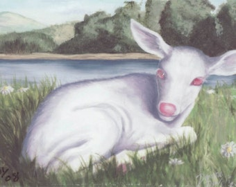 Animal ACEO Baby Deer Aceo Fantasy Art Albino Fawn ATC Forest