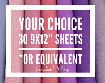 30 Wool Felt Sheets, Wool Blend Felt, Choose Your Own Colours, Wool Fabric, Nonwoven Fabric, Merino Wool, 9x12 Sheets, 12x18 Sheets