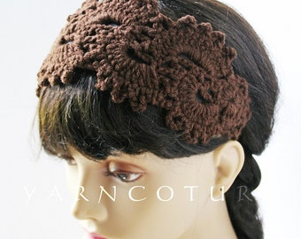 Satin Lined Headband / Hand Crocheted Henna Lace Design w/Stretch Satin Lining / Gift For Her