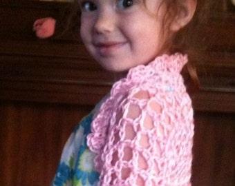 Shrug, Bolero, Girls shrug, Pink, Crochet