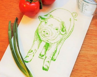 Flour Sack Tea Towel - Green Pig Design - Hand Screen Printed Towel - Perfect for Dishes - Barnyard Animals Farm Country Linens