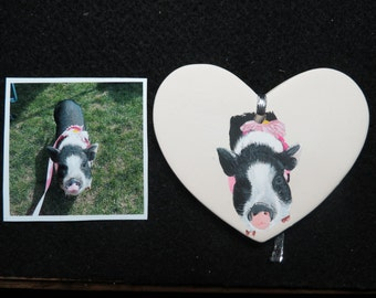 Pet Portrait Memorial Christmas Ornament Hand Painted and Made to Order Pet Pot Bellied Pig by Pigatopia