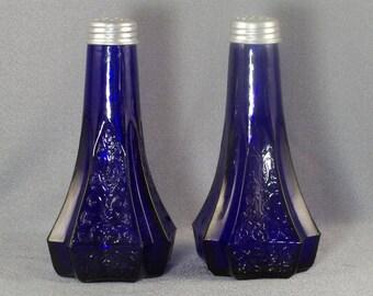Vintage Cobalt Blue Salt & Pepper Shakers // Scroll Design // 8-Corner Base // Mint Condition // Perfect Cobalt Color