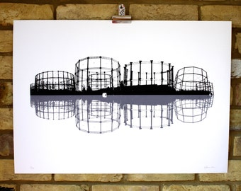 Original screen print, limited edition industrial art, gasworks print, hand printed architecture print, industrial landscape, 50x70 poster