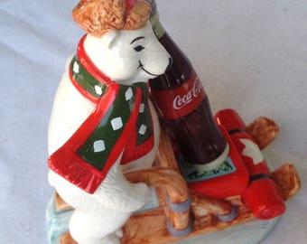 "Vintage 1997 Coca Cola Bears Around The World ""Canada"" Polar Bear Figurine  #328952"