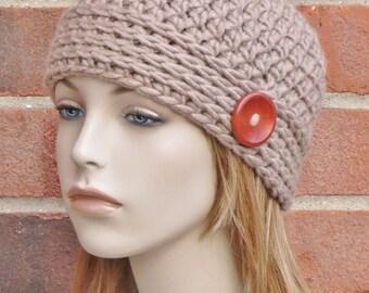 Taupe Beanie Hat - Crochet Beanie Button Hat - Womens Crochet Hat - Beige Skullcap Beanie - Winter Accessories // THE NOOR //