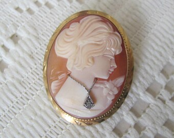 Vintage Cameo Brooch, Gold Filled, Diamond Habille, Shell Cameo Pendant, Cameo Jewelry