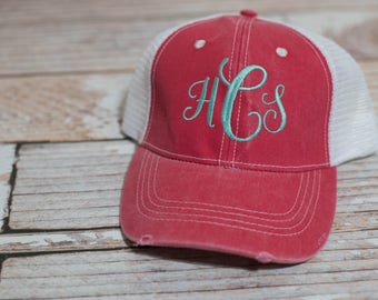 Monogram Personalized Trucker Hat or Ball Hat for Beach, Honeymoon, Outdoors