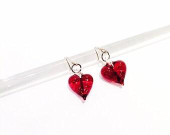 Valentine's Day - Glass Heart Earrings,Handmade Glass Pendant
