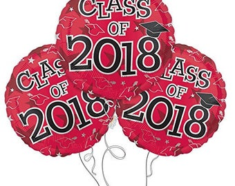 Set of 3 CLASS OF 2018 Red Graduation Party Balloons Decoration Supplies