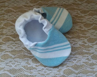 Handmade baby shoes, Soft sole shoes, baby booties, baby slippers--Sky Blue/White Stripes