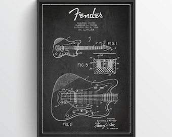 1966 Fender Electric Guitar Patent Poster, Patent Art Print, Patent Print, Fender Guitar Print, Wall Art, Home Decor, Gift Idea, MUIN24P