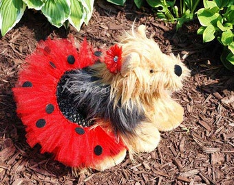 Ladybug Dog Tutu and Flower Collar or Hair Clip - Fits Dogs 13 To 23 Inches Around
