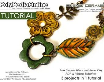 Polymer Clay Tutorial, Polymer Clay Jewelry, Polymer Clay, Polymer Clay Bead, Ceramic Bead, Clay Bead, Jewelry Tutorial, Fimo Necklace, PDF